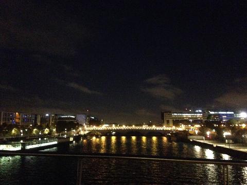 橋から日が昇る前のセーヌ川